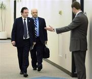 <p>Finance Minister of Greece George Papaconstantinou (L) arrives to meet with U.S. Treasury Secretary Timothy Geithner (not pictured) at the International Monetary Fund/World Bank Spring Meetings at IMF headquarters in Washington, April 24, 2010. REUTERS/Jonathan Ernst</p>