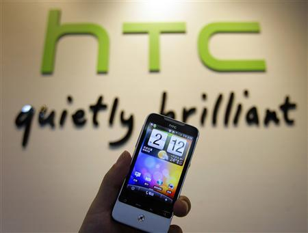 A HTC smartphone ''Legend'' is displayed in a mobile phone store in Taipei April 28, 2010. Taiwan's HTC, the world's No. 5 smartphone brand, expects to announce a Windows 7 phone by the end of this year, it said on Wednesday. REUTERS/Pichi Chuang