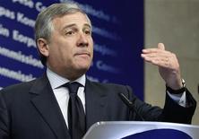 <p>Tajani in una foto d'archivio. REUTERS/Sebastien Pirlet (BELGIUM - Tags: TRANSPORT POLITICS)</p>