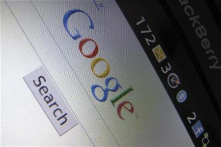 A Google Inc page is shown on a blackberry phone in Encinitas, California April 13, 2010. REUTERS/Mike Blake