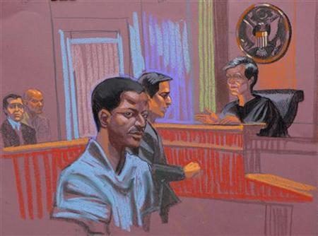 Ahmed Khalfan Ghailani, a Tanzanian held at the U.S. naval base in Cuba since 2006 accused of involvement in the bombing of U.S. embassies in Africa, is depicted in this courtroom sketch of his arraignment, in New York, June 9, 2009 file photo. REUTERS/Christine Cornell