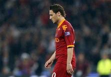 <p>Francesco Totti subito dopo l'espulsione nella gara finale di Coppa Italia contro l'Inter REUTERS/Max Rossi</p>