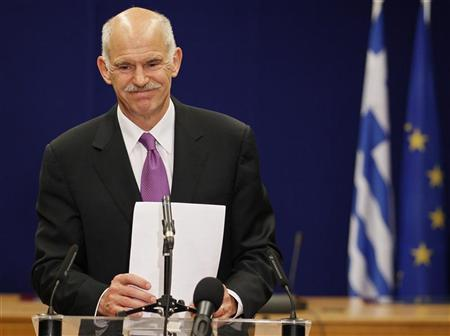 Greece's Prime Minister George Papandreou holds a news conference after a Euro Zone leaders summit in Brussels, May 8, 2010. REUTERS/Yves Herman