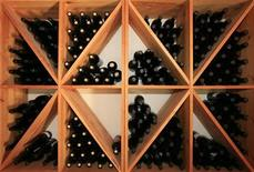 <p>Bottles of wine are displayed in a wine shop produced of grapes from vineyard run by Melen wines near Tekirdag in western Turkey, August 18, 2007. REUTERS/Fatih Saribas</p>
