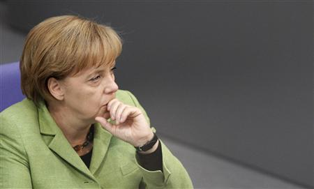 German Chancellor Angela Merkel attends a debate on a euro rescue package in the Bundestag, the lower house of parliament, in Berlin May 21, 2010. REUTERS/Tobias Schwarz