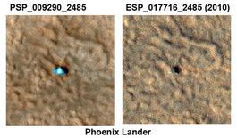 <p>La sonda Phoenix in due foto della Nasa, del 2008 (a sinistra) e del 2010 (a destra) REUTERS/NASA/JPL/Caltech/University of Arizona/Handout</p>