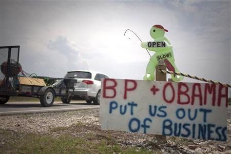 A roadside sign expresses resentment towards British Petroleum (BP) and U.S. President Barack Obama over the Deepwater Horizon oil disaster, in Grand Isle, Louisiana May 30, 2010. REUTERS/Lee Celano