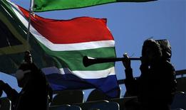 <p>A soccer fan in silhouette blows a vuvuzela before the start of the 2010 World Cup Group F soccer match between New Zealand and Slovakia at Royal Bafokeng stadium in Rustenburg June 15, 2010. REUTERS/Dylan Martinez</p>