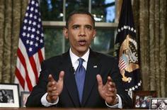 <p>El presidente de Estados Unidos, Barack Obama, ofrece un discurso a la nación desde el salón Oval de la Casa Blanca, Washington, jun 15 2010. REUTERS/Kevin Lamarque (UNITED STATES)</p>