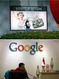 <p>La cour de cassation a annulé un arrêt de la cour d'appel de Paris dans l'affaire opposant Louis Vuitton à Google, renvoyant les parties une seconde fois devant la cour d'appel. /Photos d'archives/REUTERS/Nir Elias et Tyrone Siu</p>