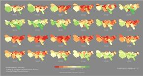 <p>Computer scientists at Northeastern University in Boston, Mass. created a mood map based on 300 million Twitter comments. On the map mood ranges from happiest in dark green to the least happy in red. REUTERS/Northeastern University/Handout</p>