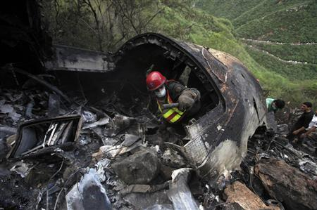 A rescue worker searches the wreckage of an Airblue passenger plane which crashed on the outskirts of Islamabad July 28, 2010. REUTERS/Faisal Mahmood