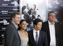 "<p>Cast members Will Ferrell (L-R), Eva Mendes, and Mark Wahlberg arrive with director Adam McKay (R) for the premiere of the film ""The Other Guys"" in New York August 2, 2010. REUTERS/Lucas Jackson</p>"