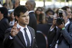 "<p>Cast member Taylor Lautner gestures at the premiere of ""The Twilight Saga: Eclipse"" during the Los Angeles Film Festival at Nokia theatre at L.A. Live in Los Angeles June 24, 2010. The movie opens in the U.S. on June 24. REUTERS/Mario Anzuoni</p>"