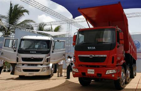 Tata Motors' range of trucks are displayed during a news conference in Mumbai May 28, 2009. REUTERS/Punit Paranjpe/Files