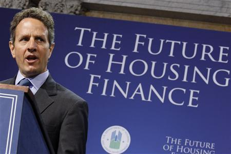 Treasury Secretary Tim Geithner participates in the Obama administration's Conference on the Future of Housing Finance in the Cash Room of the Treasury Building in Washington August 17, 2010. REUTERS/Jason Reed