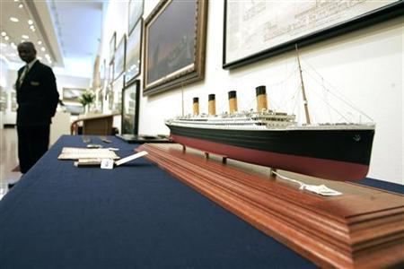 A model of the Titanic cruise ship sits on display at Christie's in New York May 26, 2006. REUTERS/Keith Bedford