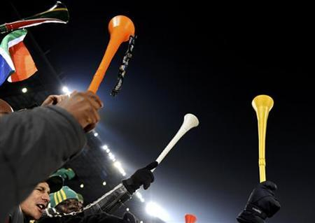 Fans hold vuvuzelas ahead of the 2010 World Cup Group A soccer match between South Africa and Uruguay at Loftus Versfeld stadium in Pretoria in this June 16, 2010 file photo. REUTERS/Dylan Martinez