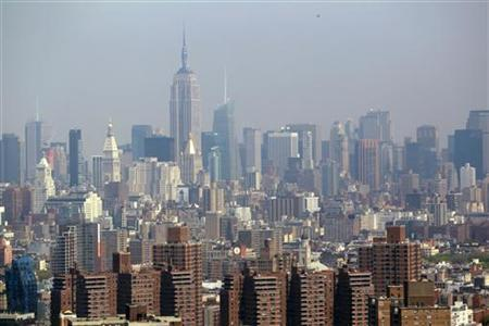 The Manhattan skyline is seen from a helicopter in New York City, April 22, 2010. REUTERS/Jim Young