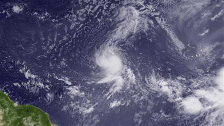 Tropical Storm Danielle located west of the Cape Verde Islands and moving west-northwest, August 23, 2010. REUTERS/NOAA