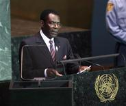 <p>Equatorial Guinea's President, Teodoro Obiang Nguema Mbasogo, addresses the 64th United Nations General Assembly at the U.N. headquarters in New York, September 23, 2009. REUTERS/Lucas Jackson</p>