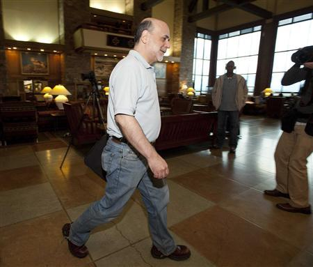 Federal Reserve Chairman Ben Bernanke enters the Jackson Hole Economic Symposium in Grand Teton National Park August 28, 2010. REUTERS/Price Chambers