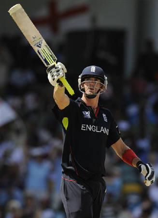 File photo of England's Kevin Pietersen as he celebrates reaching his half century during the Super 8 match against South Africa at Kensington Oval during the ICC World Twenty20 cricket tournament in Bridgetown May 8, 2010.  REUTERS/Philip Brown/Files