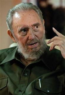 Former Cuban leader Fidel Castro speaks at Havana's Jose Marti airport after the arrival of Cuban medical contingent ''Moto Mendez'' from Bolivia, August 17, 2010. REUTERS/Roberto Chile/Cubadebate/Handout