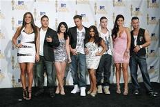 """<p>The cast of """"Jersey Shore"""" pose together backstage at the 2010 MTV Movie Awards in Los Angeles June 6, 2010. REUTERS/Danny Moloshok</p>"""