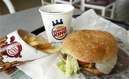A meal is pictured at a Burger King at a restaurant in Annandale, VA, August 24, 2010. REUTERS/Kevin Lamarque