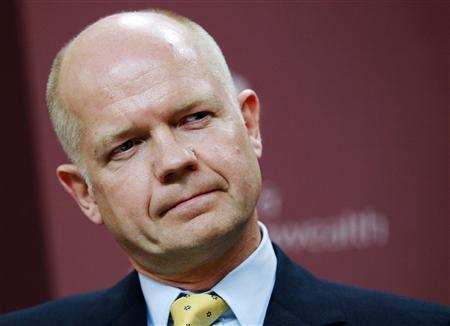 Britain's Foreign Secretary William Hague listens to a question during a news conference with his German counterpart Guido Westerwelle at the Foreign and Commonwealth Office in London September 2, 2010. REUTERS/Luke MacGregor