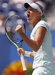 <p>Kaia Kanepi comemora vitória contra Jelena Jankovic no Aberto dos EUA em Nova York. 04/09/2010 REUTERS/Jessica Rinaldi</p>