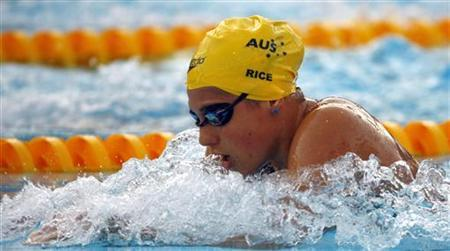 Stephanie Rice of Australia competes in the women's 400m individual medley swimming final at the World Championships in Rome August 2, 2009. REUTERS/Wolfgang Rattay