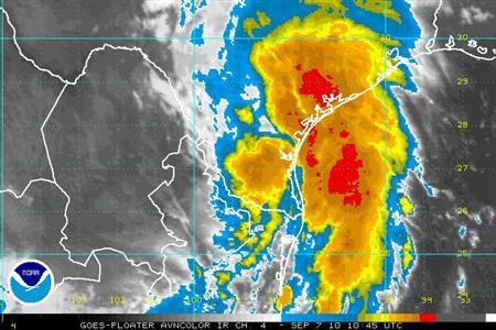 Tropical storm Hermine is seen in this satellite image courtesy of the National Hurricane Center, September 7, 2010. REUTERS/National Hurricane Center/Handout