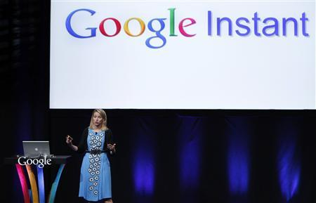Marissa Mayer, vice president, search products and user experience for Google Inc, unveils ''Google Instant'' during a news conference in San Francisco, September 8, 2010. REUTERS/Robert Galbraith