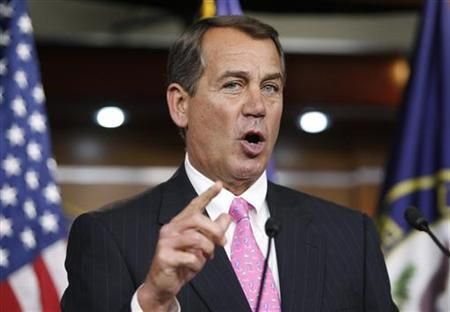 Rep. John Boehner (R-OH) gestures as he addresses his weekly news conference with Capitol Hill reporters in Washington, March 19, 2010. REUTERS/Hyungwon Kang