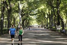 <p>Пара молодых людей прогуливается по Центральному парку в Нью-Йорке 27 августа 2010 года. Новое исследование американских ученых показало, что ходьба может улучшить не только состояние стареющего организма, но и работоспособность мозга. REUTERS/Lucas Jackson</p>