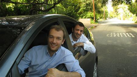 Zimride co-founders Logan Green (front) and John Zimmer are seen in this undated handout photo. REUTERS/handout