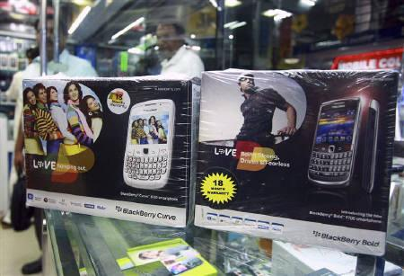 BlackBerry handset boxes are displayed for sale at a mobile phone shop in Kochi August 26, 2010. India is in talks with Research In Motion for access to BlackBerry corporate emails, a senior government source said on Tuesday, adding that its current access was only for the messenger services. REUTERS/Sivaram V/Files