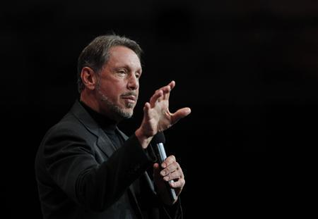 Oracle CEO Larry Ellison speaks during his keynote address at the Oracle Open World in San Francisco, California September 22, 2010. REUTERS/Robert Galbraith