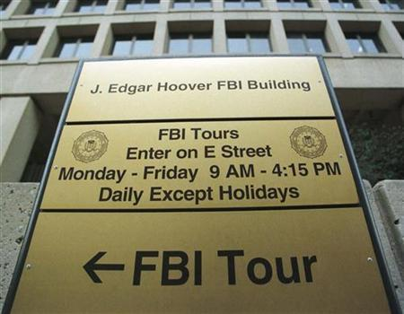 A tour sign stands outside the Federal Bureau of Investigations (FBI) headquarters in Washington as seen in this file photo. Reuters/Jamal Wilson