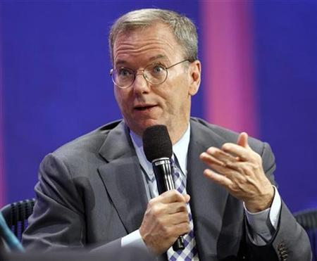 Eric Schmidt, Chairman and CEO of Google, answers a question from former U.S. President Bill Clinton (not pictured) during the opening plenary session at the Clinton Global Initiative, in New York, September 21, 2010. REUTERS/Chip East