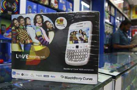 A box containing a BlackBerry handset is seen at a shop in Kochi, August 18, 2010. REUTERS/Sivaram V/Files