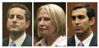 <p>Defendants Howard K. Stern (L), Dr. Khristine Eroshevich (C) and Dr. Sandeep Kapoor are shown in a combination photo during their arraignment at the Los Angeles County Criminal Courts building in Los Angeles, California, in this May 13, 2009 file photo. REUTERS/Pool/Files</p>