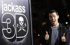 "<p>Cast member Steve-O gestures at the premiere of ""Jackass 3D"" at Grauman's Chinese theatre in Hollywood, California October 13, 2010. REUTERS/Mario Anzuoni</p>"