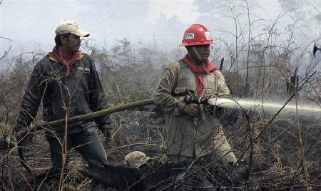 Firefighters work to extinguish fires in a forest in Bengkalis district in Indonesia's Riau province October 21, 2010. Singapore, blanketed under a smoky haze for days, beseeched neighbouring Indonesia on Friday to douse fires lit for illegal clearing of forests that are causing the worst air pollution in the region since 2006. REUTERS/Najla Hafiz