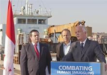 <p>Minister of Public Safety Vic Toews (R), Minister of Citizenship, Immigration and Multiculturalism Jason Kenney (L), and Minister for the Asia-Pacific Gateway Stockwell Day announce a series of new reforms to combat human smuggling in Delta, British Columbia October 21, 2010. REUTERS/Richard Lam</p>