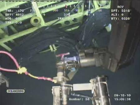 This September 18, 2010 BP video frame grab shows a remote operating vehicle (ROV) working at the site of BP's Macondo well in the Gulf of Mexico. REUTERS/BP/Handout/Files