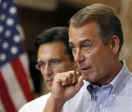 House Republican Leader John Boehner (R) and House Republican Whip Eric Cantor hold a news conference outlining ''A New Governing Agenda'' for the 111th Congress at the Tart Lumber Company in Sterling, Virginia, September 23, 2010. REUTERS/Larry Downing