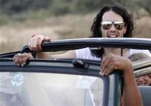 <p>Russell Brand is driven through the Ranthambhore National Park during a jungle safari in the Sawai Madhopur district in the desert Indian state of Rajasthan October 22, 2010. REUTERS/Adnan Abidi</p>